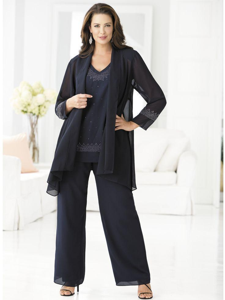 2015 Mother Of The Bride Pants Suits For Weddings Plus Size Three ...