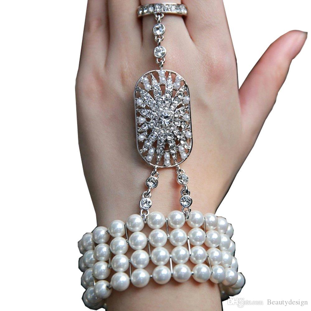 2015 Cheap New Wedding Jewelry The Great Gatsby Bridal Bridesmaid Crystal Pearl Bracelet Set ...