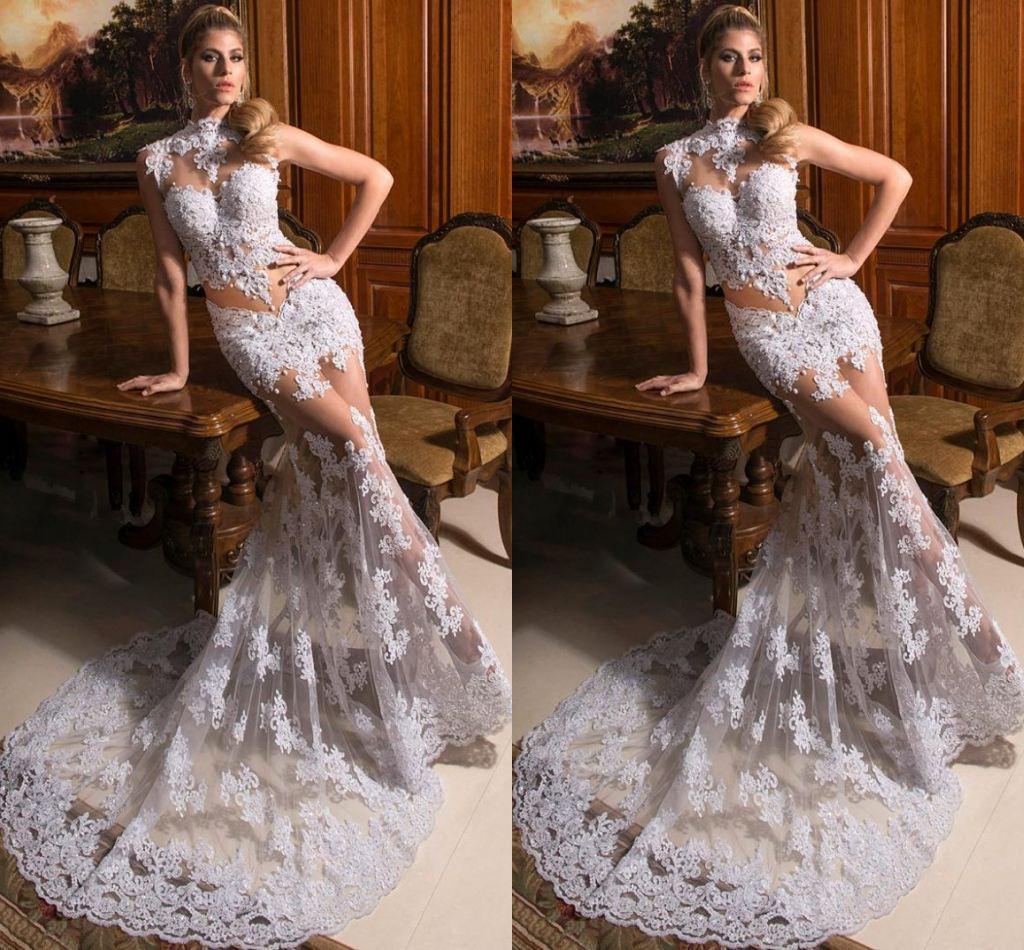 2015 Glamorous Mermaid Wedding Dresses y High Neck
