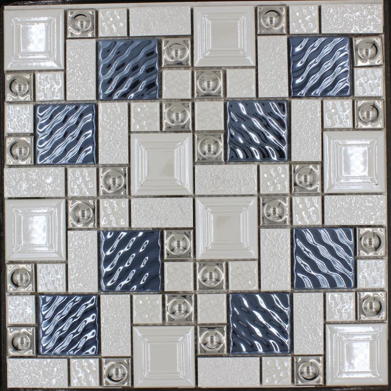 Popular Metal Porcelain Mixed Mosaic Tile Blue Silver Beige White Color Bar Restaurant Living Room TV Background Wall Tiles FedEx Online With