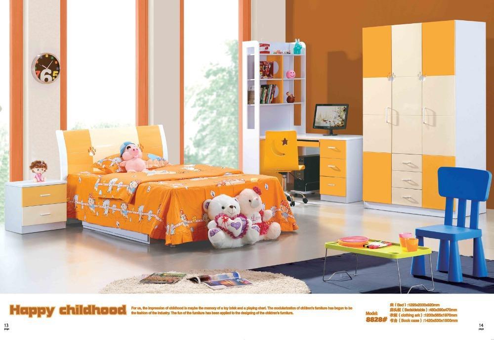 orange children dream house furniture bedroom furniturewood furniture bed desk wardrobe boy and girl bedroom furniture