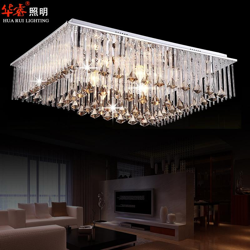 Brief Long Square Crystal Chandeliers Flush Mount Drop