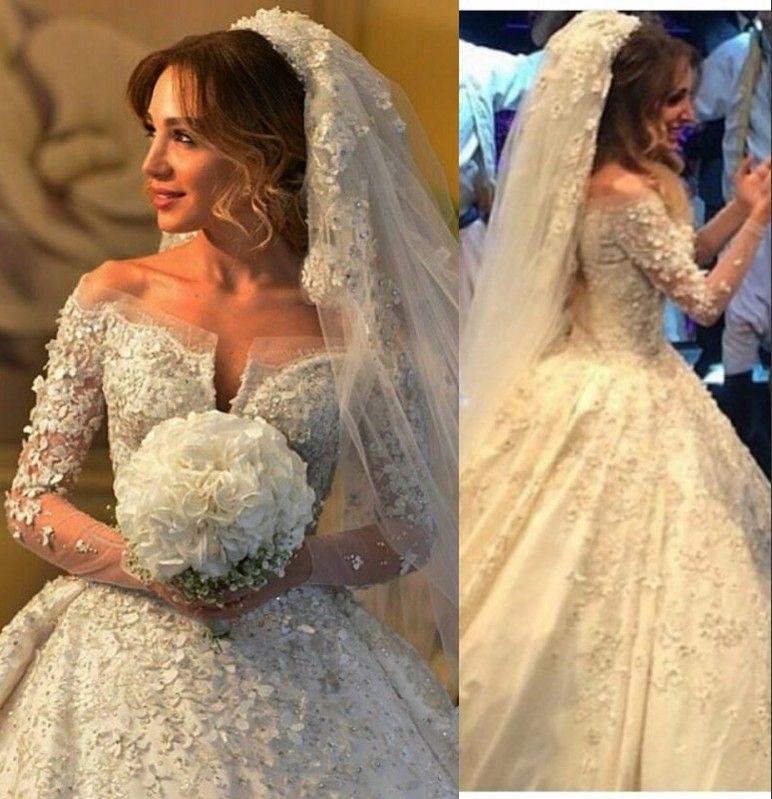 Luxury Wedding Dresses 2016 Off Shoulder V Neck Full Lace Applique ...