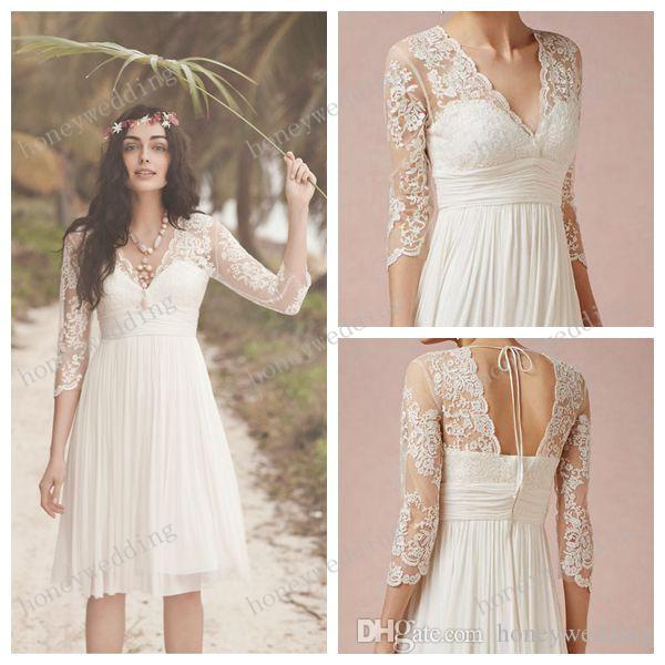 2015 White Lace Wedding Dresses 34 Long Sleeves Scalloped VNeck