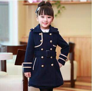 Military Uniform Style Kids Woolen Coat England Style Children