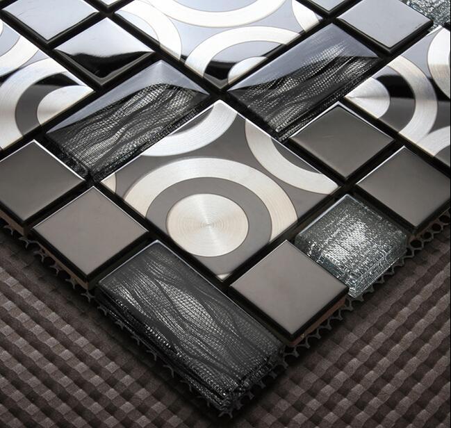 2017 crystal glass mosaic tile metal mosaic tiles stainless steel home decoration modern design - Modern kitchen tiles hd ...