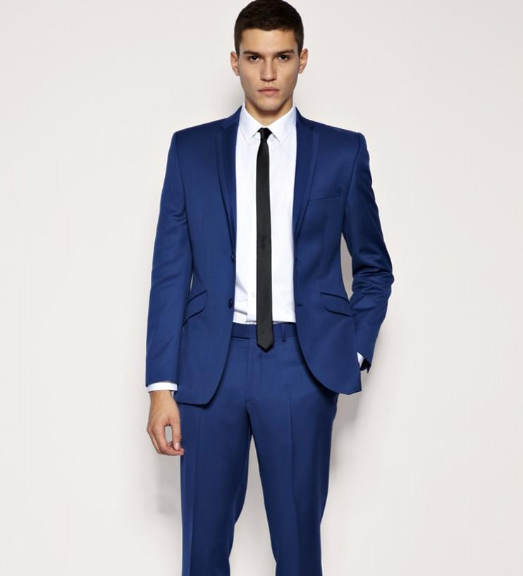 Mens Suits Blue Wedding Suits For Men Notched Lapel Slim Fit Groom