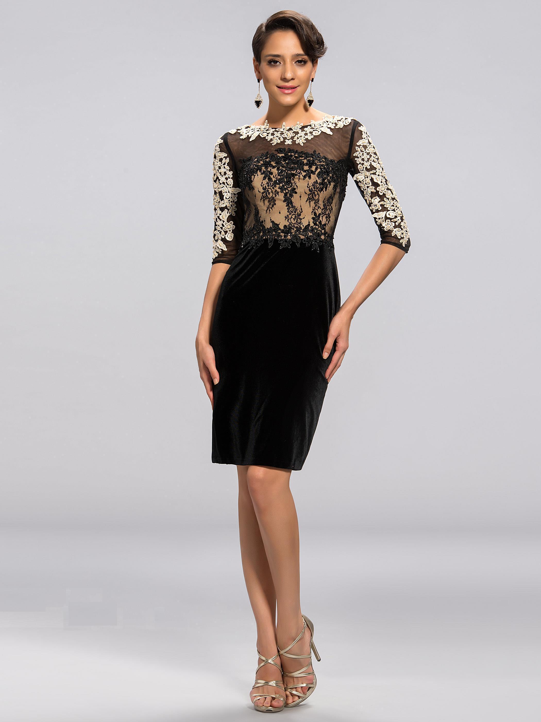 Elegant Formal Dress Scoop Little Black Dress Wedding