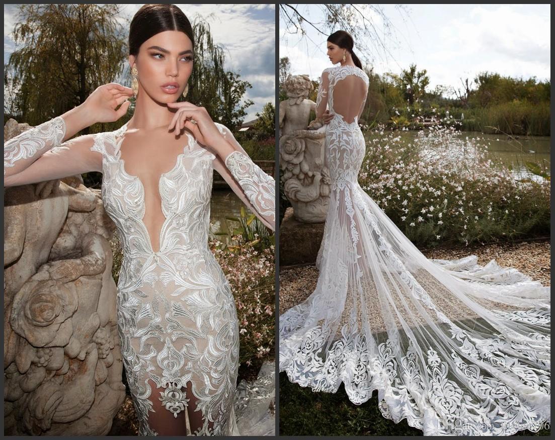 2015 Berta Bridal Sexy Wedding Dress Deep V-neck Sheer Long Sleeve ...