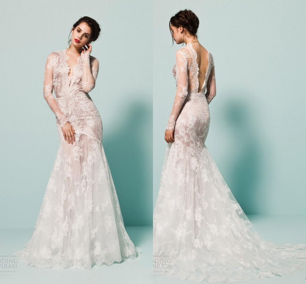 2015 New Sexy Daalarna Winter Bridal Gowns V Neck Open Back Sheer ...