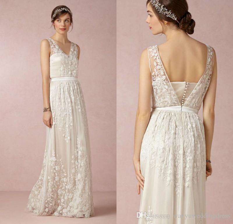 Discount 3d Floral Appliques Lace Bohemian Wedding Dresses