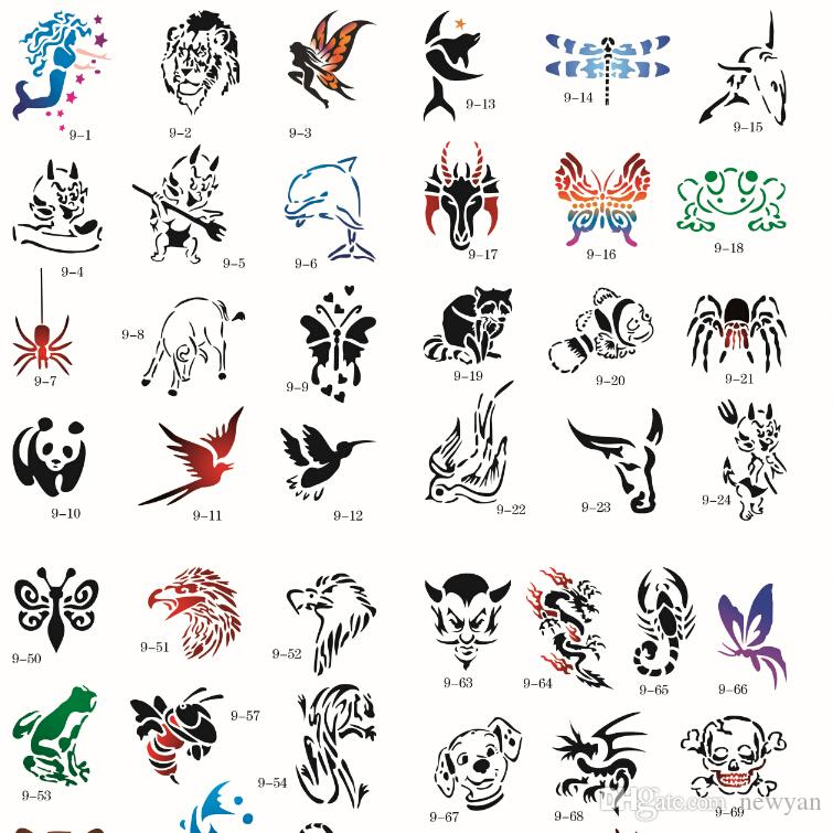 100 designs temporary airbrush tattoo stencil animal book airbrush stencils template booklet. Black Bedroom Furniture Sets. Home Design Ideas