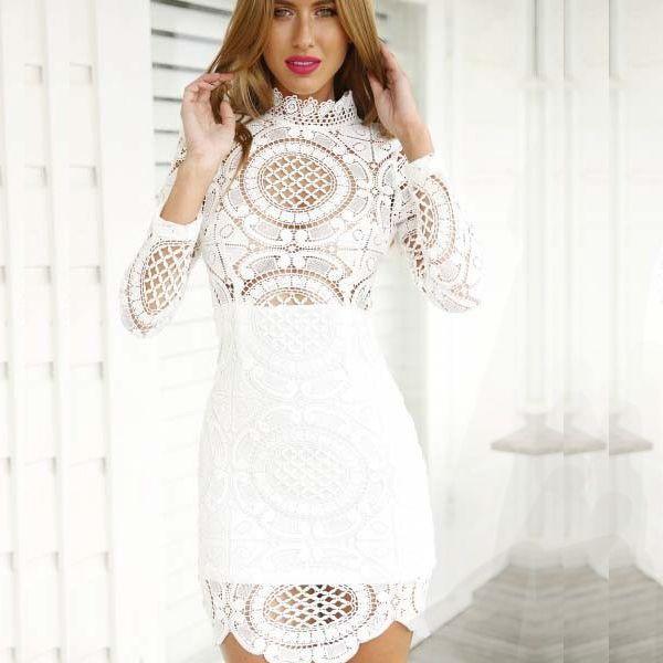 Discount High Quality Boho Sexy Short Crochet Dress Long Sleeve ...