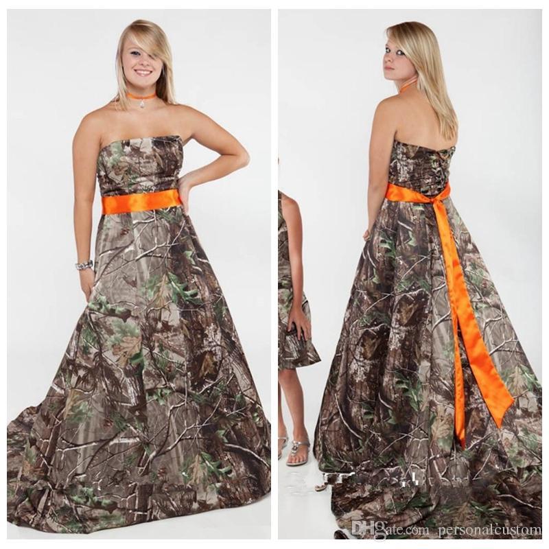 Strapless a line camo wedding dresses chapel train for Camo ribbon for wedding dress