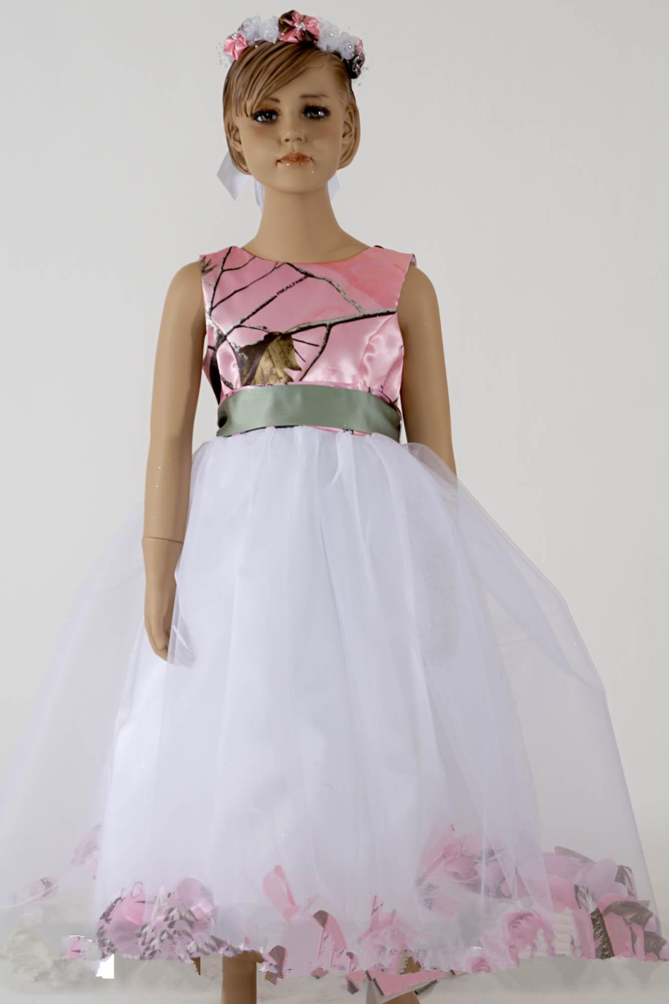 Pink camo dresses for little girls ball gowns flower girls for Wedding dresses camouflage pink