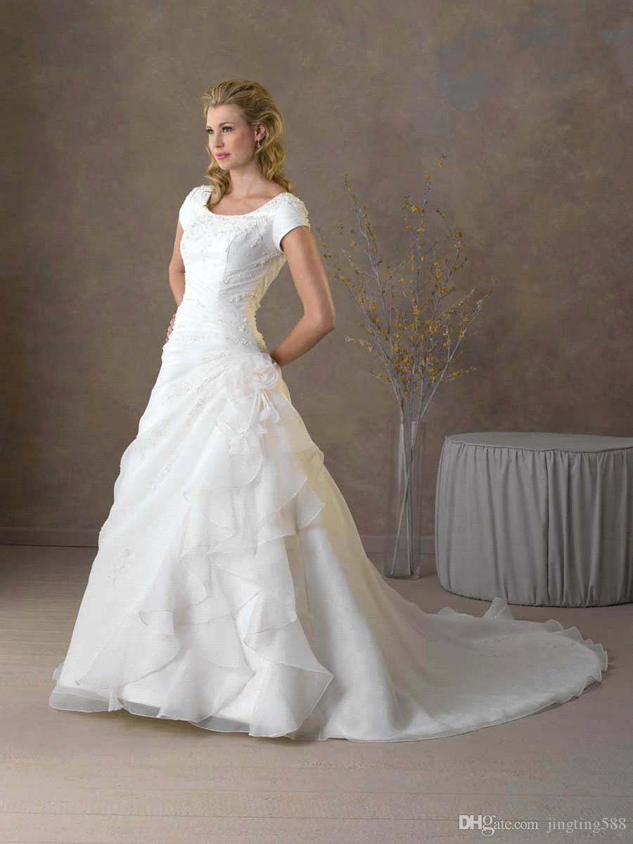 Modest a line wedding dress with short sleeve classic for Modest a line wedding dresses