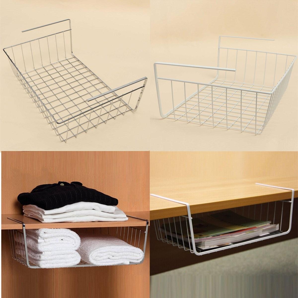 Multipurpose Iron Hanging Basket Rack Storage Holder For Wardrobe Desk  Bathroom Kitchen Refriger Office Supplies