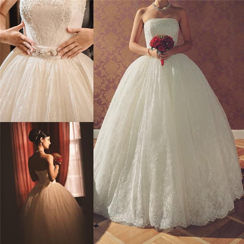 Cheap simple vintage ivory lace wedding dresses 2016 ball for Simple ivory lace wedding dress