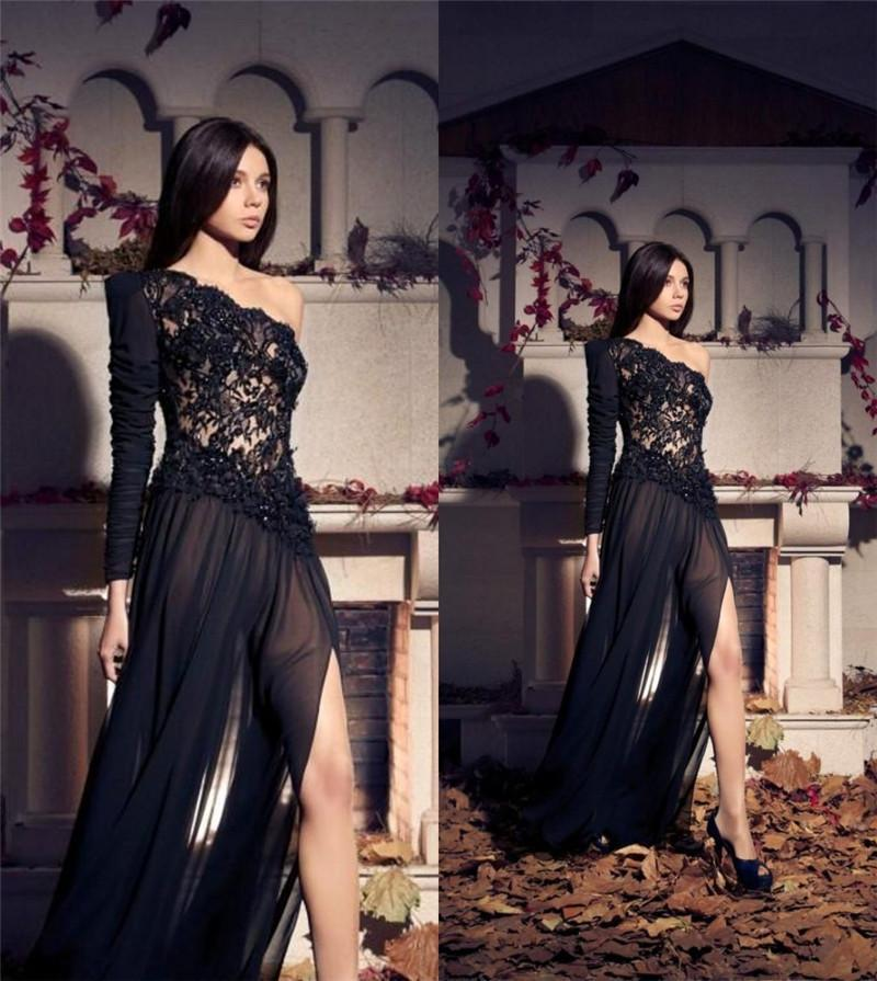 Gothic One Shoulder Long Sleeves Evening Dresses 2015 A Line ...