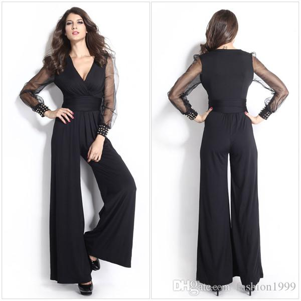 2015 New Fashion Black Jumpsuits Women Clothing Dark-V Rivet Loose ...