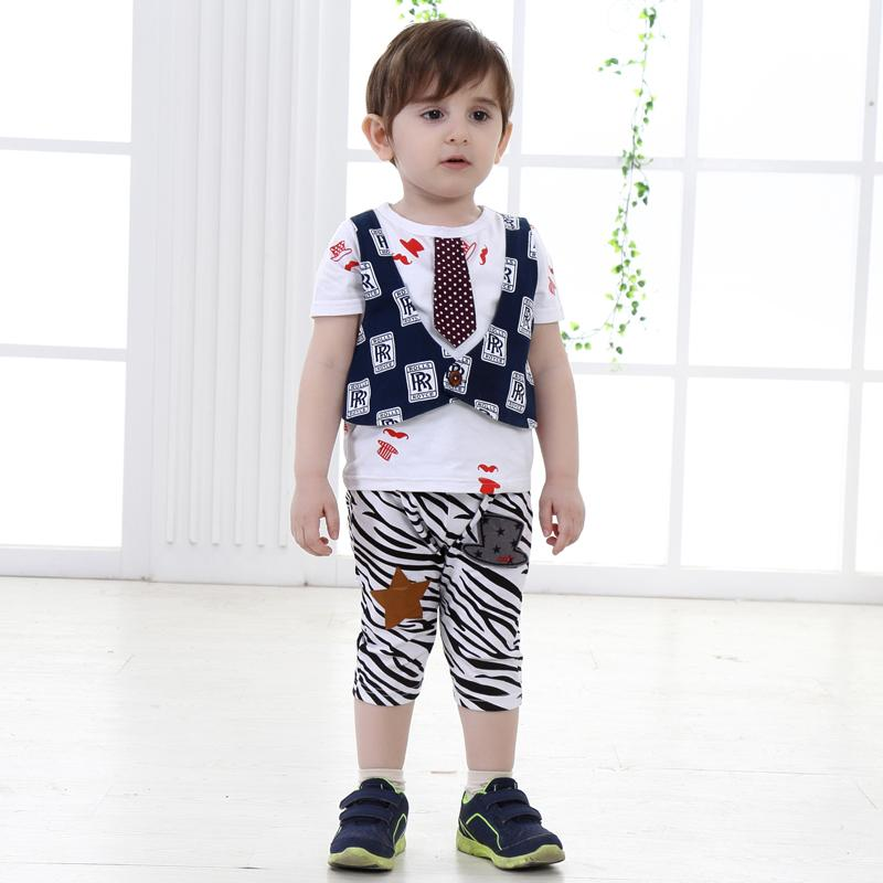 2016 Summer Baby Boys Kids Clothes Sets Short Sleeve Tie Shirts  ...