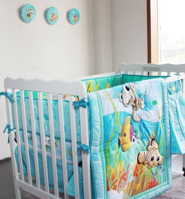 New Embroidered Ocean Animals Baby Crib Bedding Set For