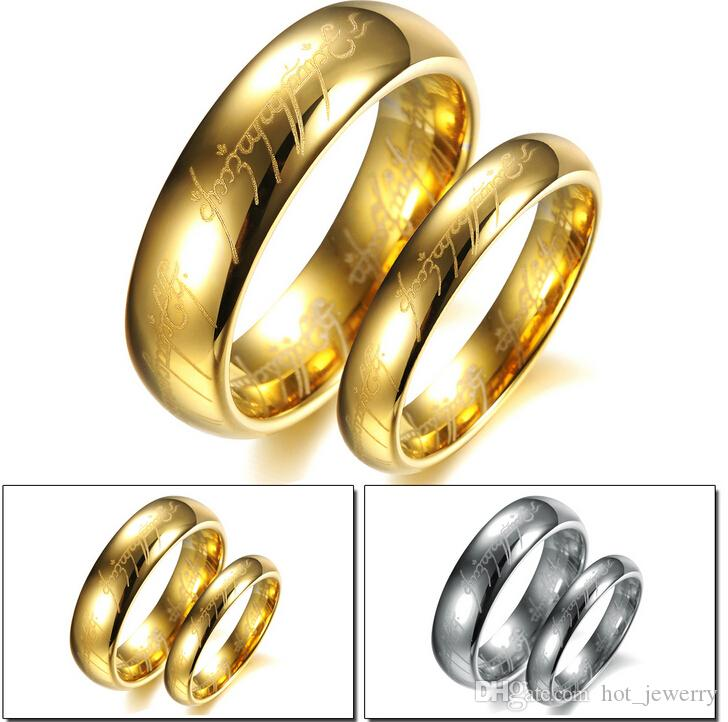 fashion jewelrygoldsilver wedding ringthe lord of the rings titanium steel couples ringsvalentines day cheap jewelryty drop shipping fashion jewelry - Lord Of The Rings Wedding Ring