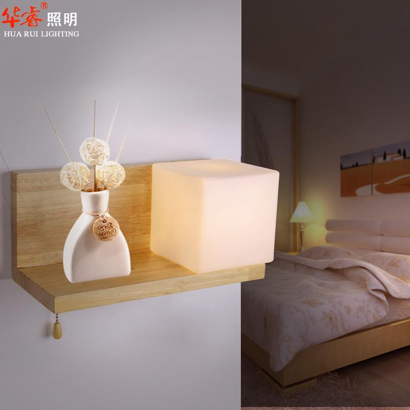 2017 Solid Wood Rustic Wall Lamp Bedside Lights Log Color Modern Simple Glass Lampshade Mounted ...