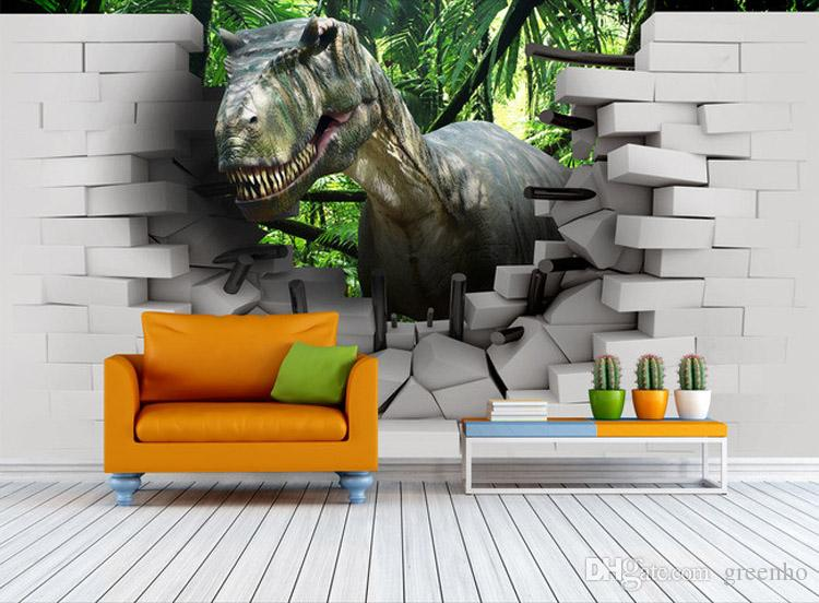 3d Dinosaur Wall Art 3d dinosaur wallpaper custom photo wallpaper children's room wall