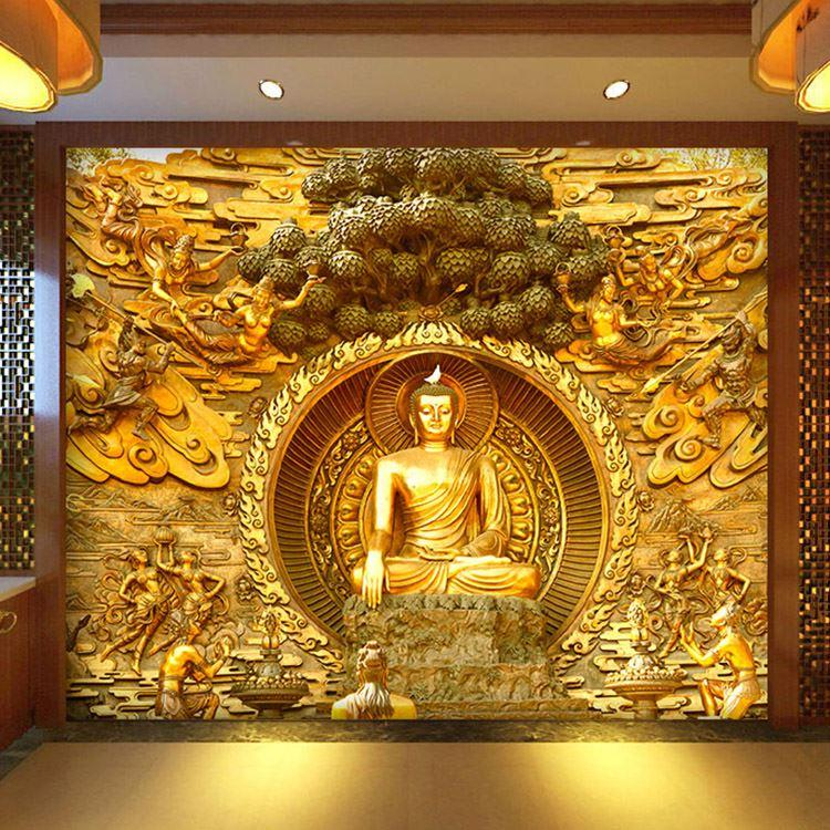 Golden buddha buddhist temple mural custom large living for Buddha mural art