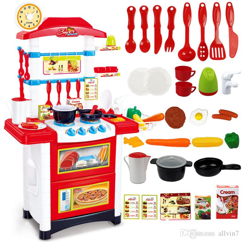 2017 kids toys beauty kitchen red and pink cooking toy for Kitchen set games