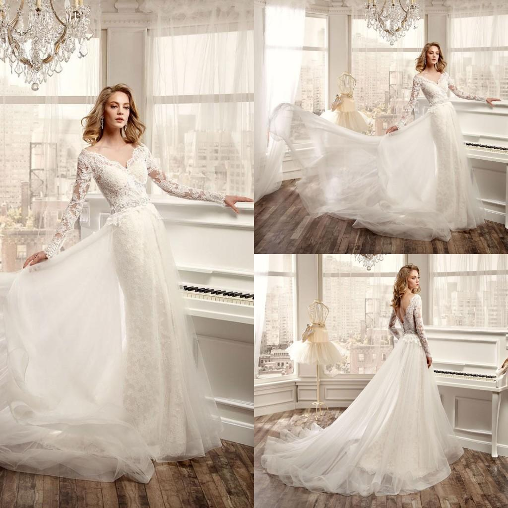 Nicole Spose 2016 Long Sleeves Wedding Dresses y V Neck