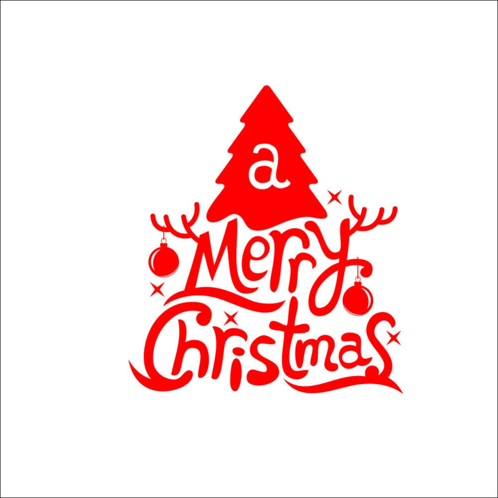 Hot Red Art Merry Christmas Wall Stickers Decals Window