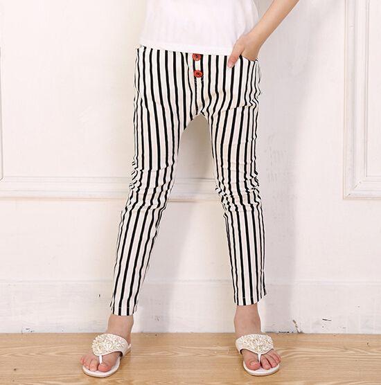 Big Girls Casual Skinny Pants Korean Style Stripe Children ...