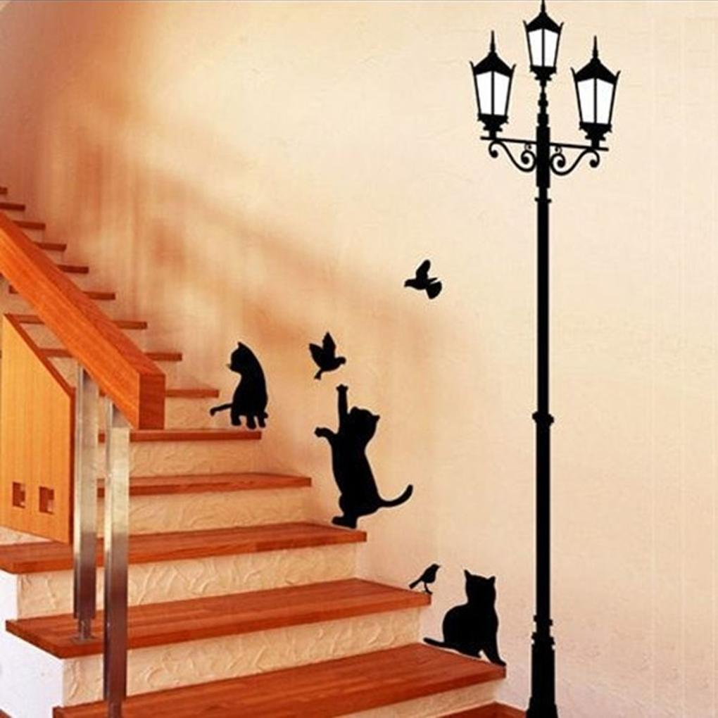 new arrived cat and bird wall sticker lamp and cat stickers decor decals walls vinyl removable decal wall designs stickers wall graphic from yu666 - Wall Designs Stickers