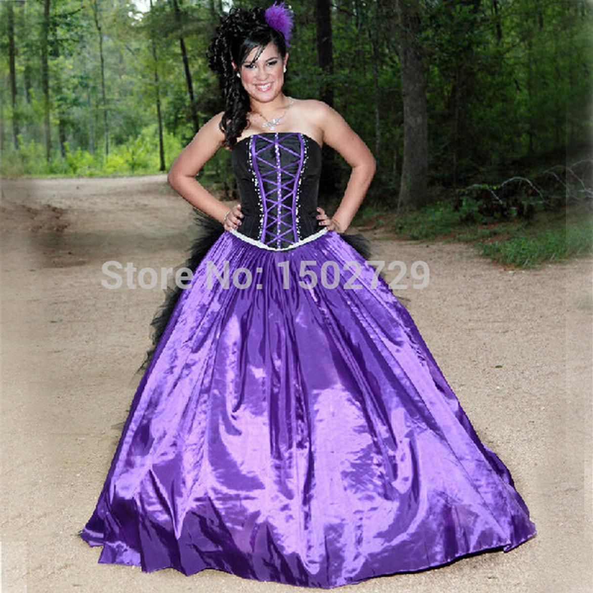 2015 Purple And Black Ball Gown Gothic Wedding Dress