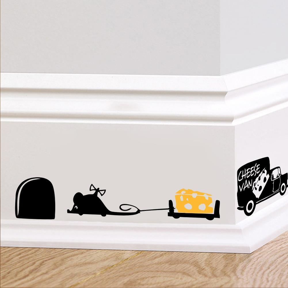 Funny mouse hole kitchen wall stickers creative rat hole cartoon ...