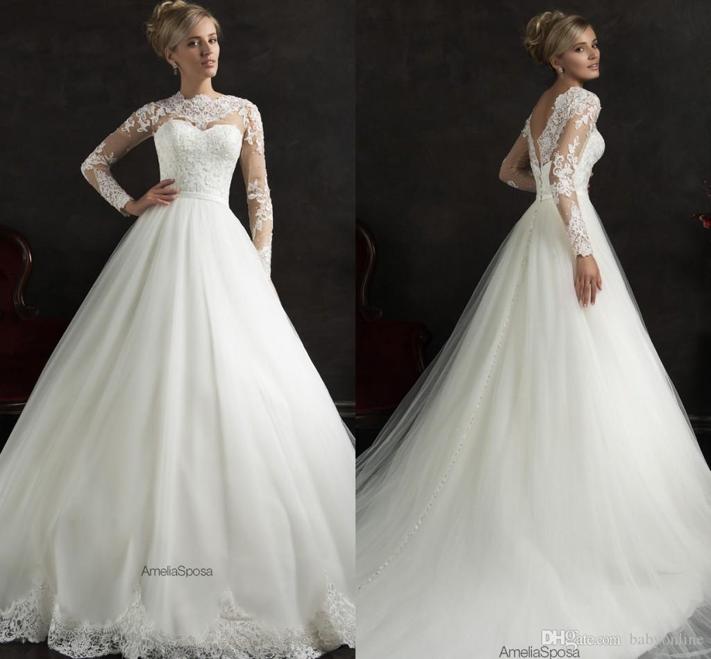2016 New Arrival Long Sleeves Amelia Sposa A Line Wedding