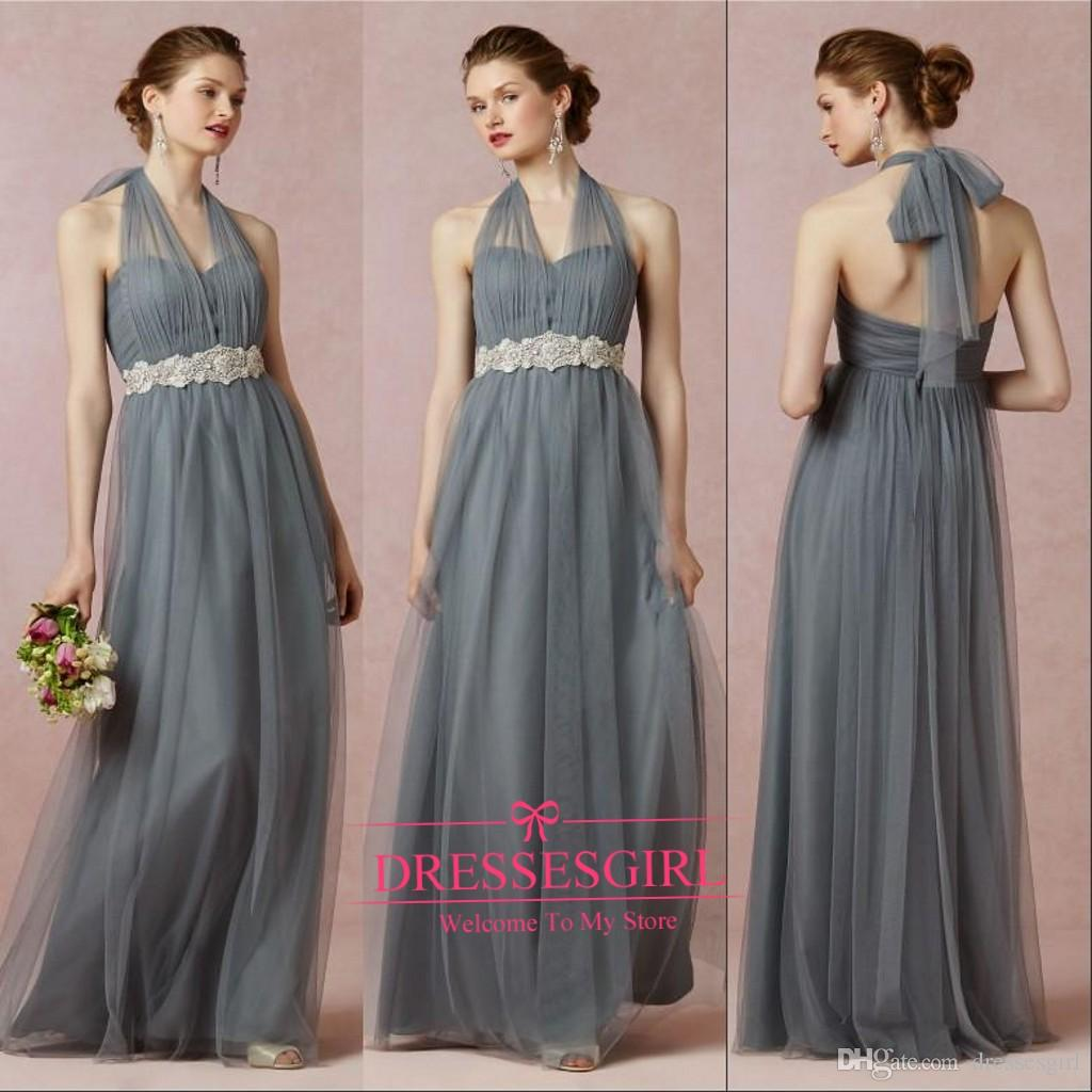 New 2015 grey purple bridesmaid dresses for womens halter for Purple and grey wedding dresses