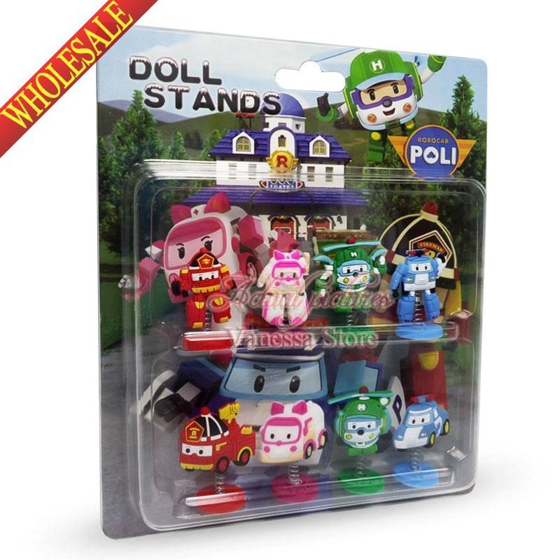 New Robocar Poli Cartoon Spring Dolls Pvc Action Figure Finger