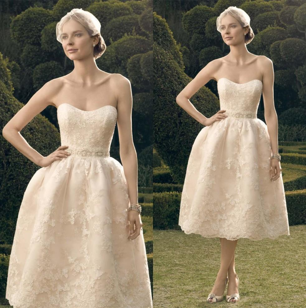 Discount champagne tea length 2015 lace wedding dresses for Champagne tea length wedding dresses