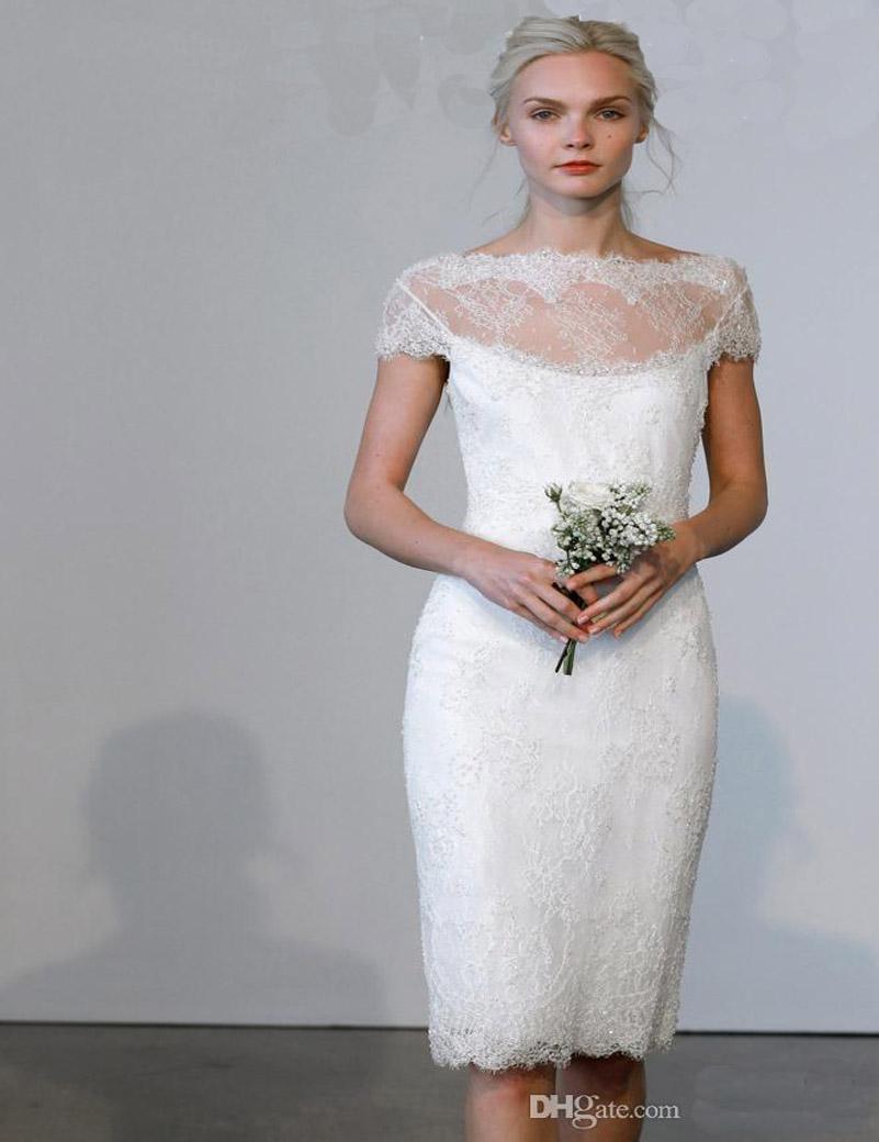 Short cute marchesa white lace beach wedding dresses 2016 for Cute short white wedding dresses
