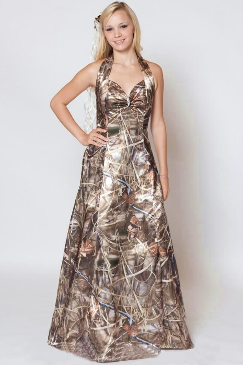 Discount 2016 Spring Camo Wedding Dresses Halter Lace Up