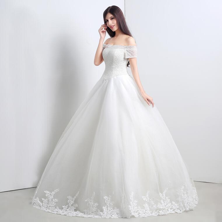 Dresses 2015 real image off shoulder beads ball gown wedding dress