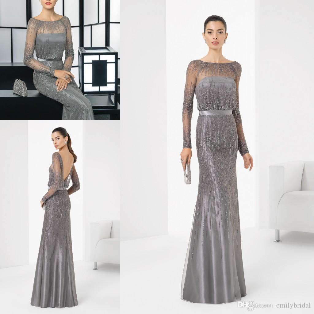 Vintage Long Sleeves Evening Dresses Luxury Beading