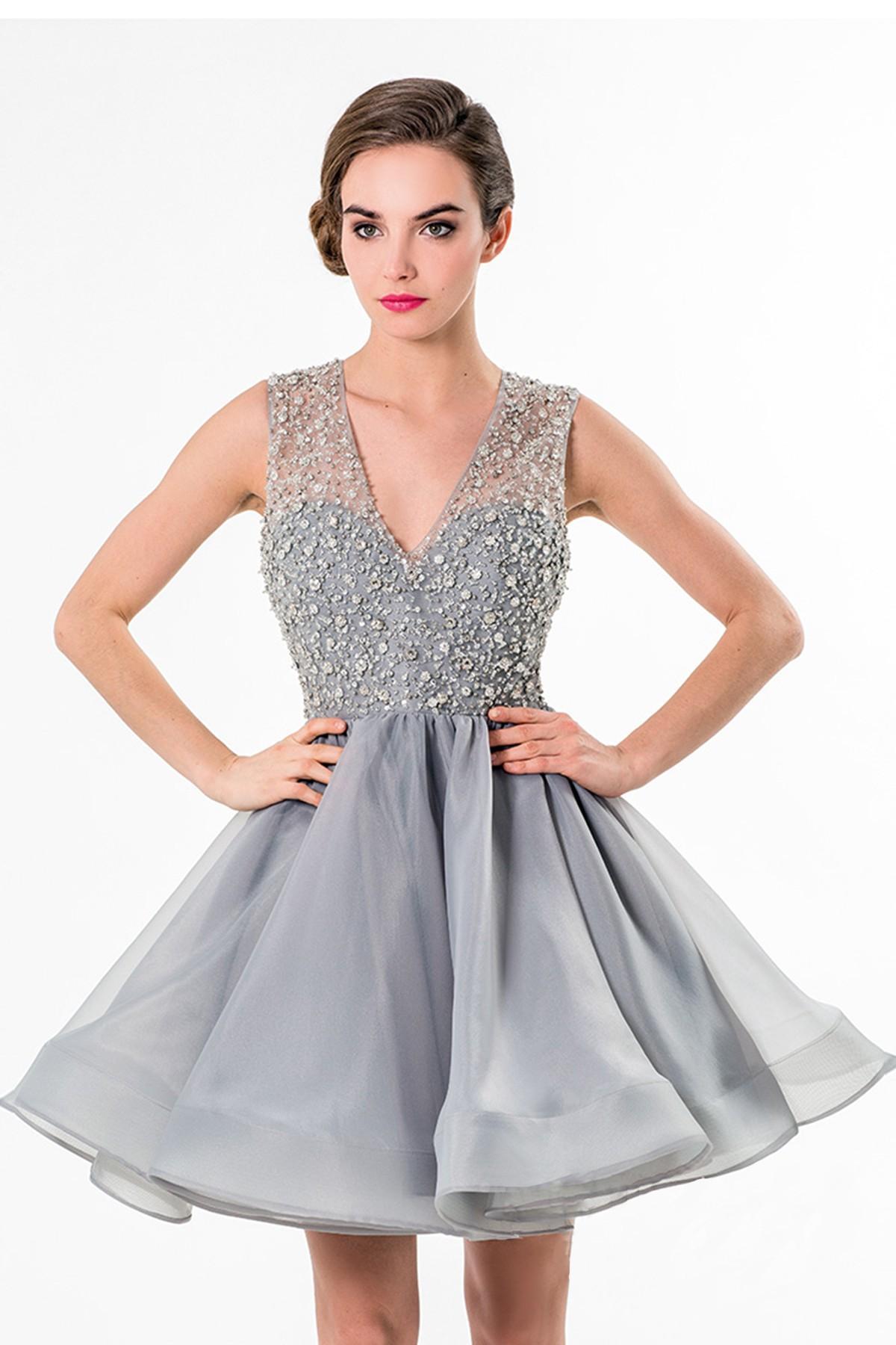Silver Short Prom Dresses 2016 New Arrival V Neck Sleeveless ...