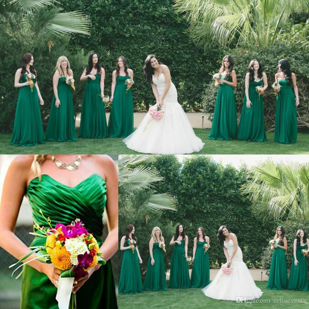 2015 dark emerald green beach bridesmaid dresses floor for Green beach wedding dresses