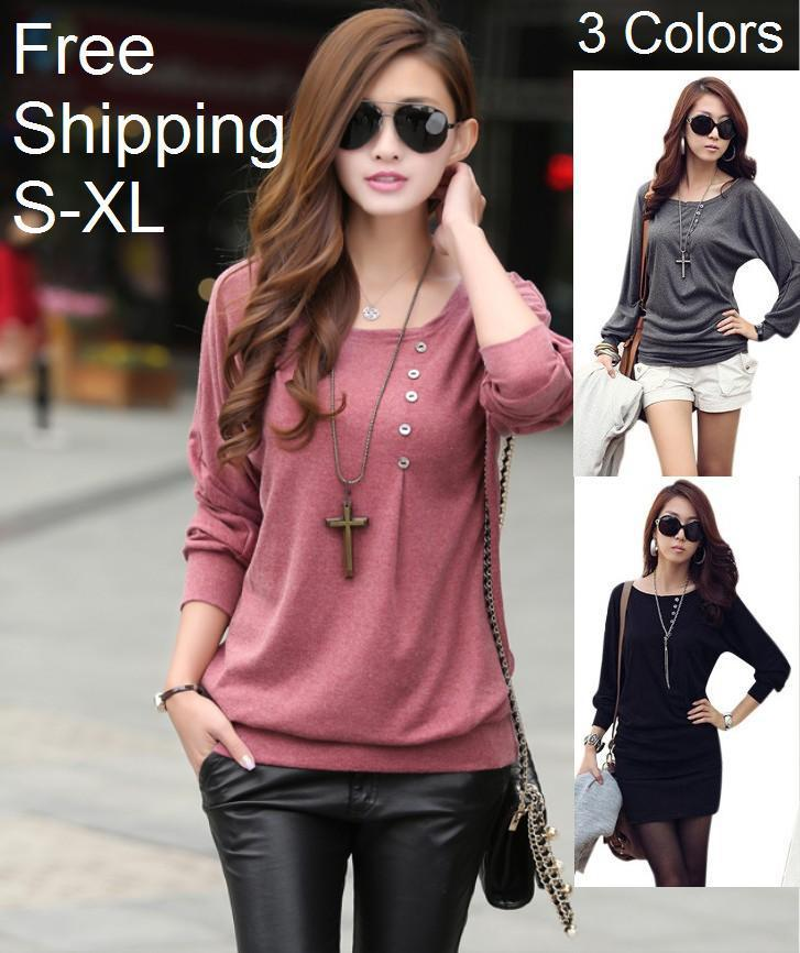 Batwing Long Sleeve Loose Women T-shirts Spring Korean Style ...