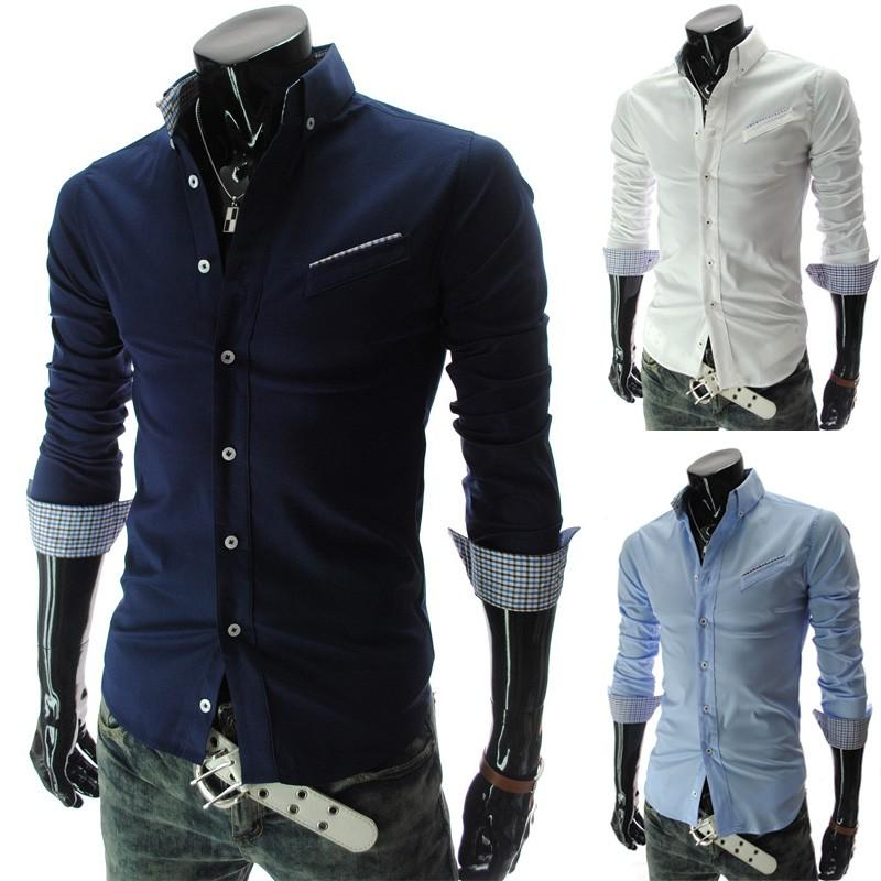 2017 2015 Fashion Men Dress Shirts Long Sleeve Men Shirt Slim Fit ...
