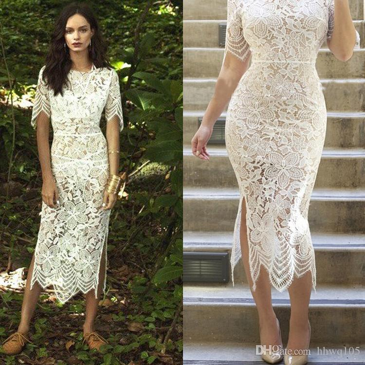 2016 New White Lace Midi Dress Elegant Ladies Crew Neck Split ...